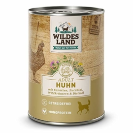 Wildes Land | Nassfutter für Hunde | Nr. 2 Huhn | 12 x 400 g | mit Karotten, Zucchini, Wildkräutern & Distelöl | Glutenfrei | Extra viel Fleisch | Beste Akzeptanz und Verträglichkeit - 1