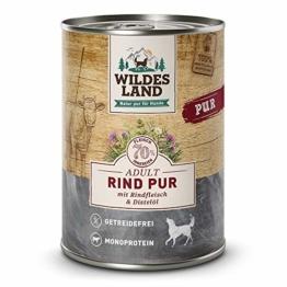 Wildes Land | Nassfutter für Hunde | Rind PUR | 24 x 400 g | mit Distelöl | Getreidefrei & Hypoallergen | Extra hoher Fleischanteil von 70% | Beste Akzeptanz und Verträglichkeit - 1