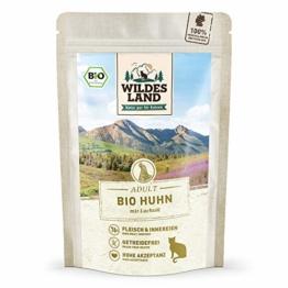 Wildes Land | Nassfutter für Katzen | Nr. 3 Huhn PUR | Bio | 12 x 85 g | Aus kontrolliertem biologischen Anbau | Getreidefrei | Extra viel Fleisch - 1
