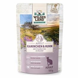 Wildes Land | Nassfutter für Katzen | Nr. 4 Kaninchen & Huhn | 12 x 100 g | Getreidefrei | Extra viel Fleisch | Beste Akzeptanz und Verträglichkeit - 1