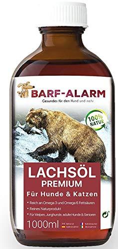 barf-alarm Premium Lachsöl für Hunde 1 Liter mit Omega 3 und Omega 6 Fettsäuren – Fischöl für den Hund & Katze – Barf Lachs für Welpen Adulte Senioren, Katzen & Sporthunde - 1