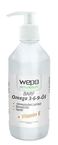 WEPO 3-6-9 Barf Hunde-Öl Premium-Qualität - 100% natürliches Omega 3 6 9 Fell- Haut- Haar- Öl 500ml (36,98 € / l) - 1
